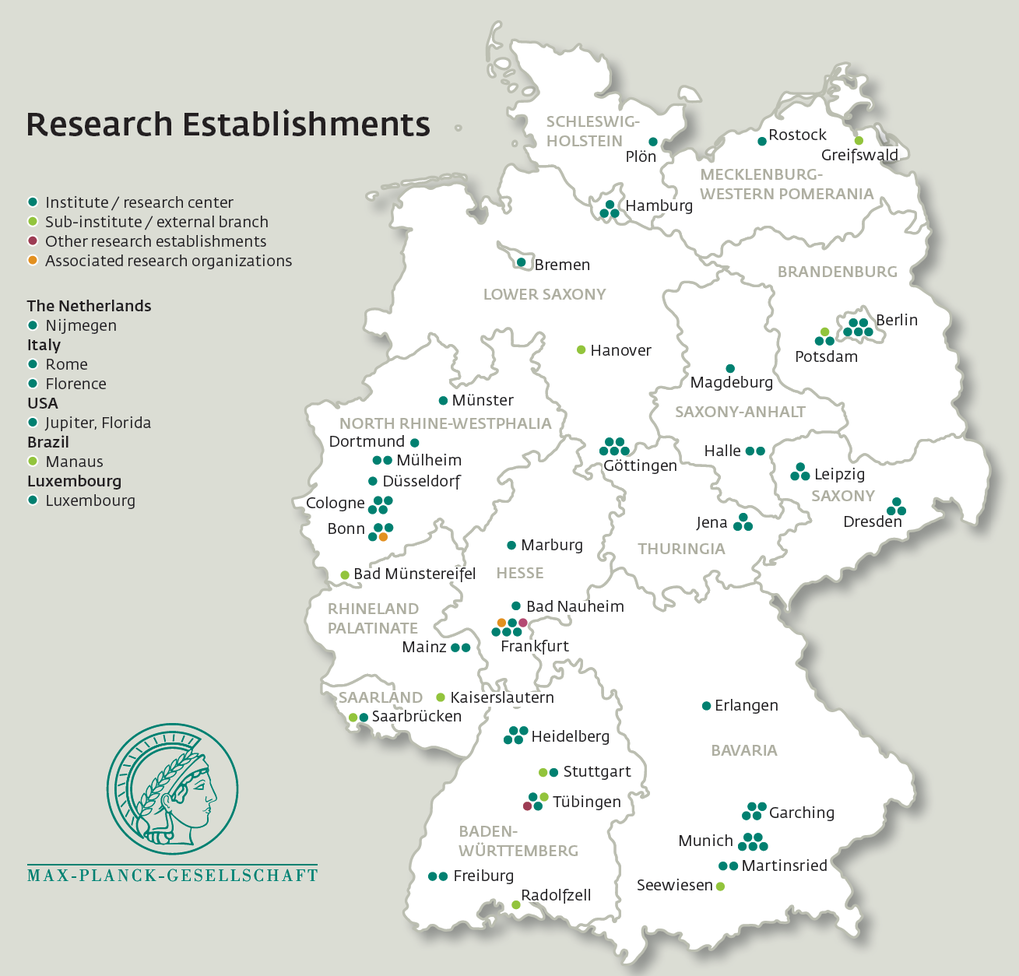 "<div style=""text-align: justify;""><strong>Research Establishements of the Max Planck Society </strong> <br /> Most Max Planck Institutes and associated establishments are located throughout Germany. PhDnet fosters exchange between PhD candidates from all institutes. Local hubs emerge, where institutes cluster. Illustration from the MPS Research Magazine.</div>"